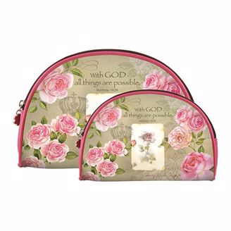 """Roses and """"With God All Things are Possible"""" Cosmetic bag set"""