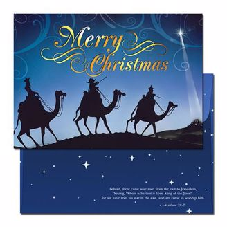 Abstract Blue and Black Wisemen Merry Christmas Card