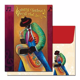 Black Saxophone Player Christmas Card