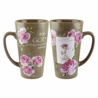 With God All Things are Possible Tall Coffee Latte Mug with Pink Roses and Tan/Green Background