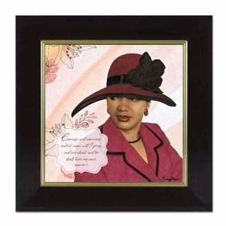 Framed African American Artwork of Woman in Burgundy Hat and Psalm 5517