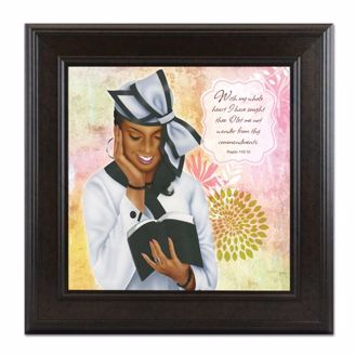 Framed African American Art of Virtuous Woman in White and Psalm 11910