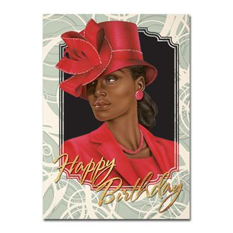 Picture of Birthday Red Lady Card