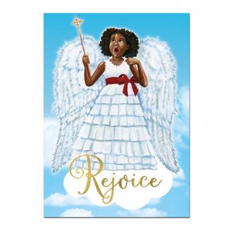 Little African American Angel Girl Christmas Card - Rejoice