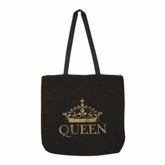 "Black Canvas Tote Bag with Gold Crown and ""Queen"""