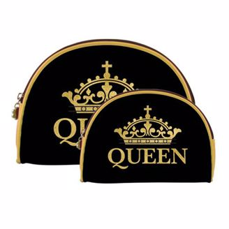 "Large and Small Matching Makeup Bags- Black Background with Gold Crown ""Queen"""