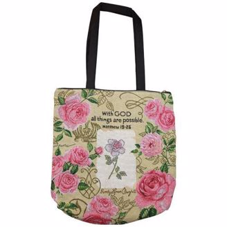 With God All Things Are Possible Tote Bag with Pink Roses
