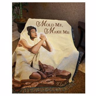 "Praying African Woman Throw Blanket with ""Mold Me, Make Me"""