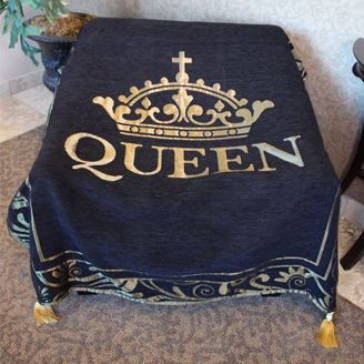 Black and Gold Queen Crown Throw Blanket