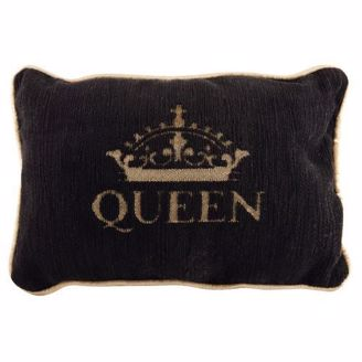 Small 12x8 Black and Gold Queen Pillow