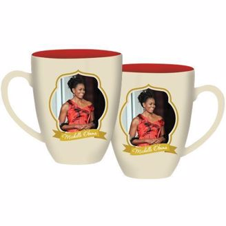 White Mug, Pink Inside, Michelle Obama Picture