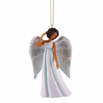Ornament of African American Angel in Blue Dress