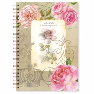 "Journal with Pink Roses and ""With God All Things Are Possible"""
