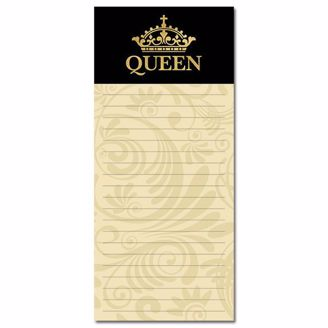 """Black and Yellow Magnetic Notepad with Gold Grown and """"QUEEN"""""""