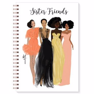 African American Sister Friends Wired Blank Writing Journal