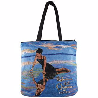 Reflections of a Queen Tote Bag, Woman Peering into Ocean Reflection