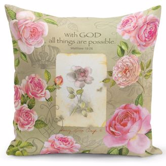 Picture of PC07 With God (Pink Roses) Pillow Cover