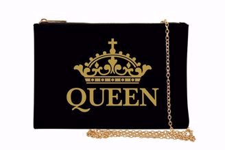 Queen Black and Gold Crown Chain Purse Clutch SP06