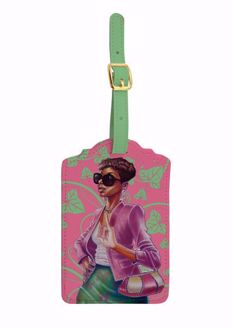 Pink and Green Black Art Luggage Tag Set of 2 LT08