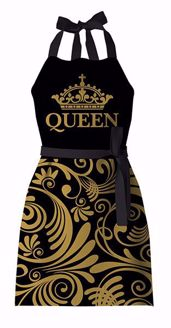 Queen Black Gold Crown Apron KA03