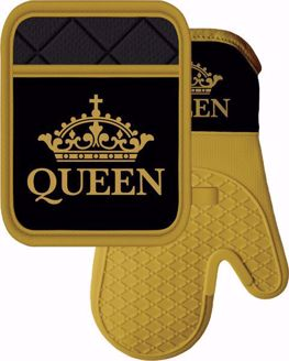 Queen Black and Gold Crown Silicone Set KM03